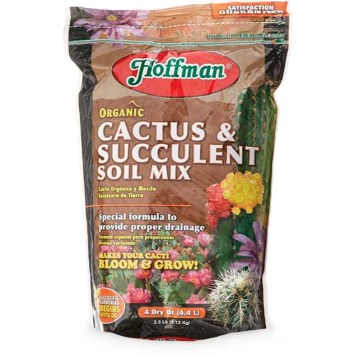 image of bag of cactus soil with images of various cacti, Hoffman logo in red and green and descriptions in yellow or white text