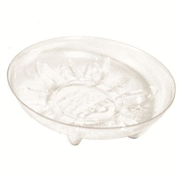 clear plastic heavy duty saucer with small bottom feet