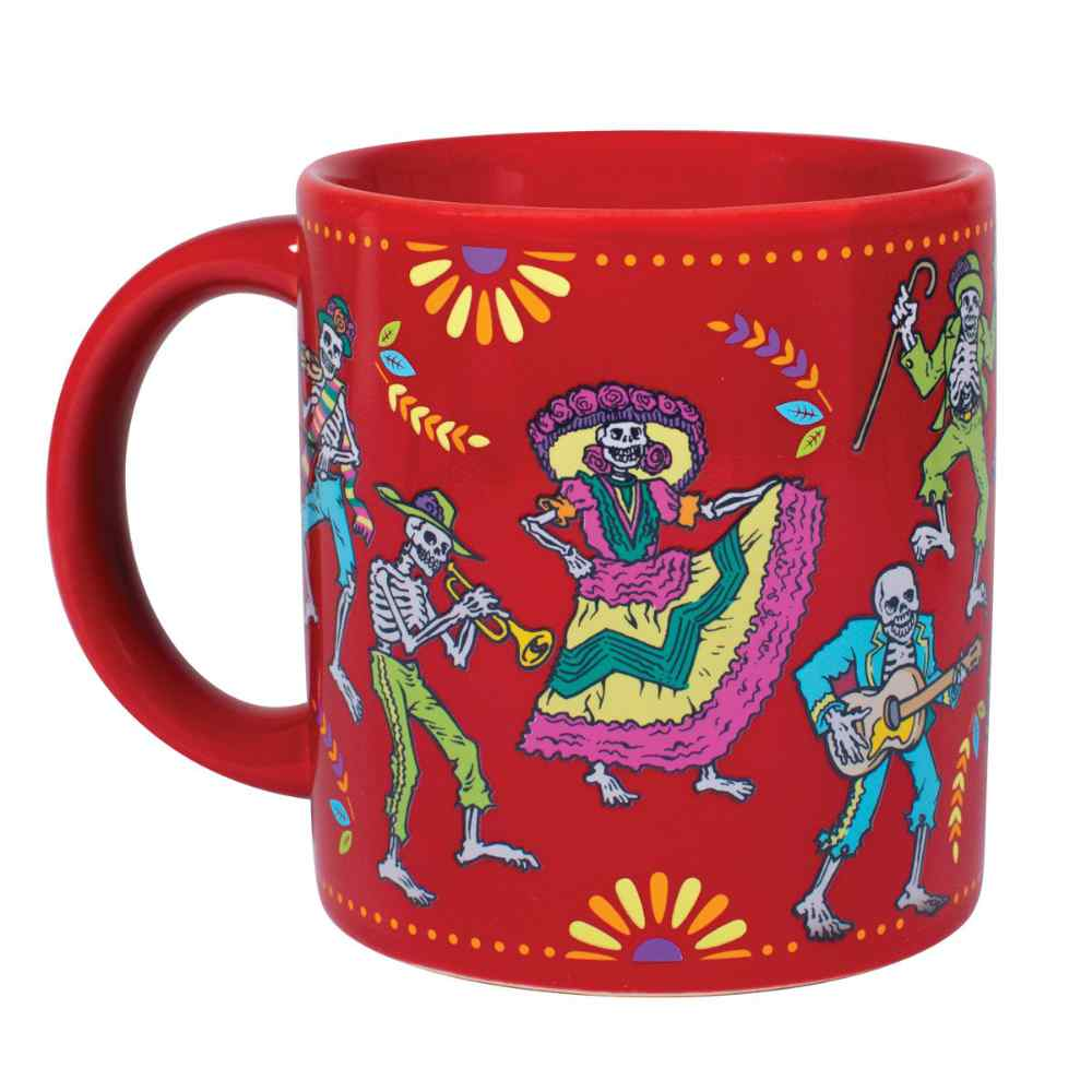 image of the left side of the mug after you pour a hot beverage into it with the colorful figures visible
