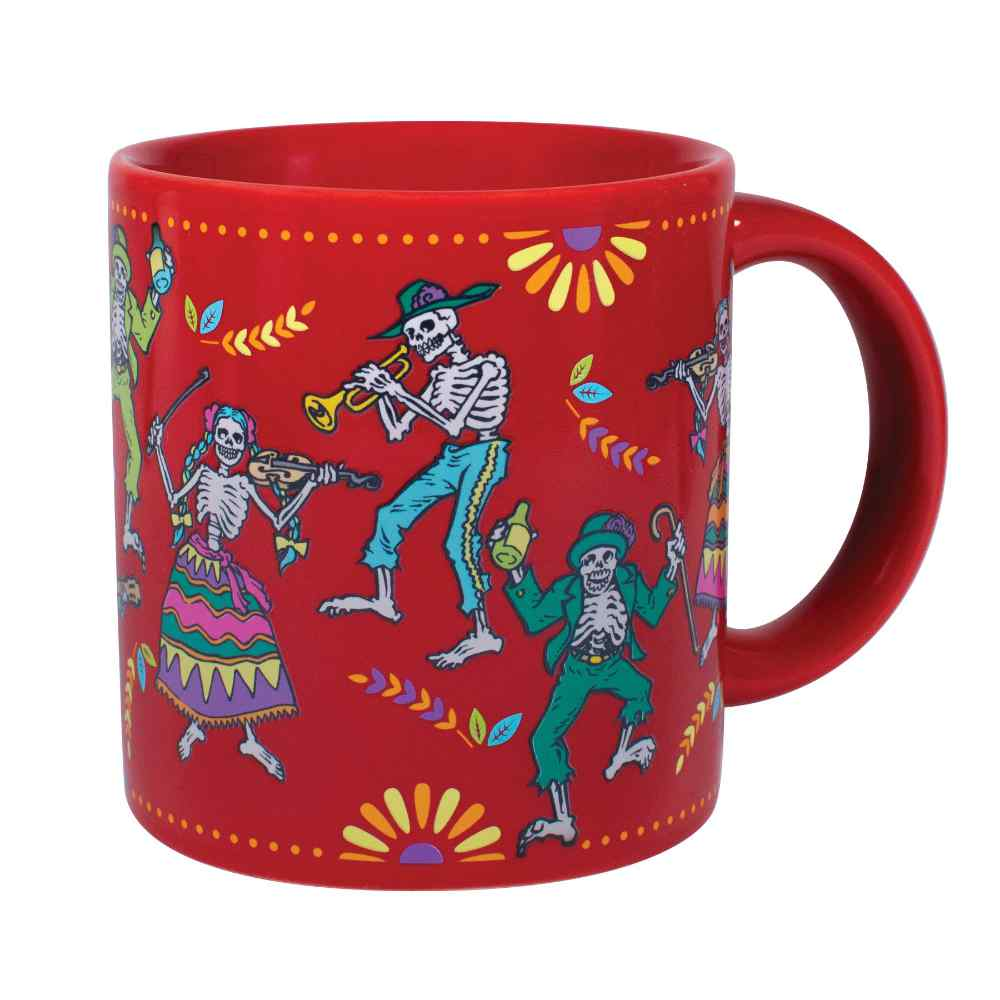 right side of mug with hot liquid in it, showing colorful drawings of skeleton figures