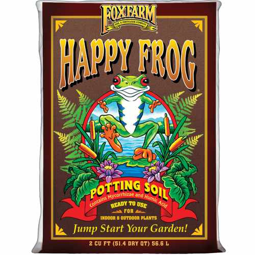 Bag of Happy Frog Soil with drawings of frog and plants