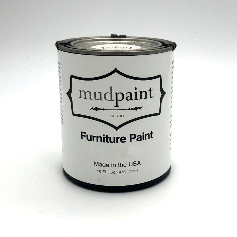 paint chip in bright orange red with the word mudpaint in the bottom right corner