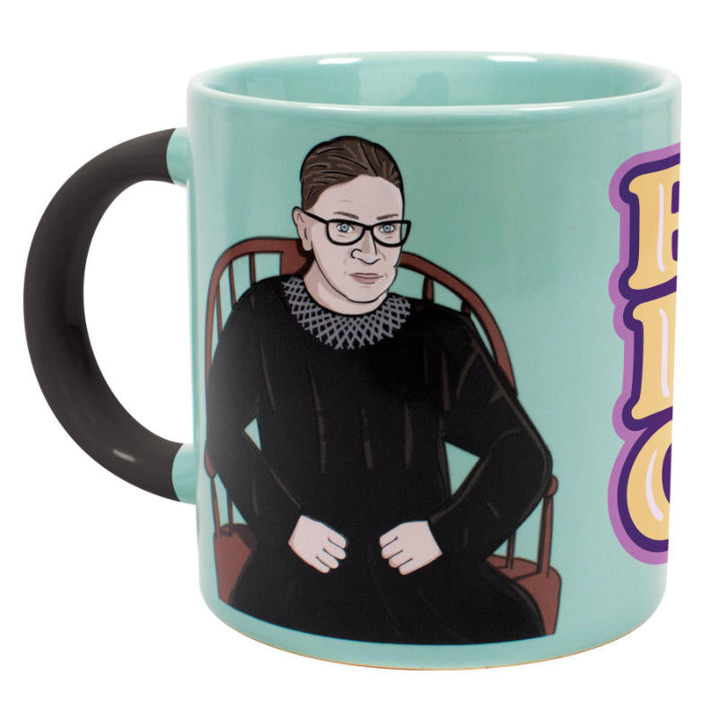 image of light blue mug with drawing of ruth bader ginsberg in her robe and collar