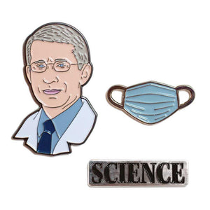 set of 3 pins: one of Dr Fauci's head, one of a medical mask, and one that says Science