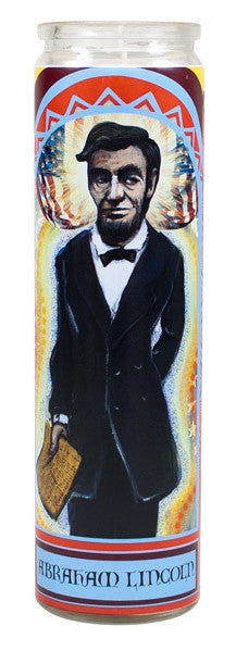 Image of front of Abe Lincoln tall glass candle