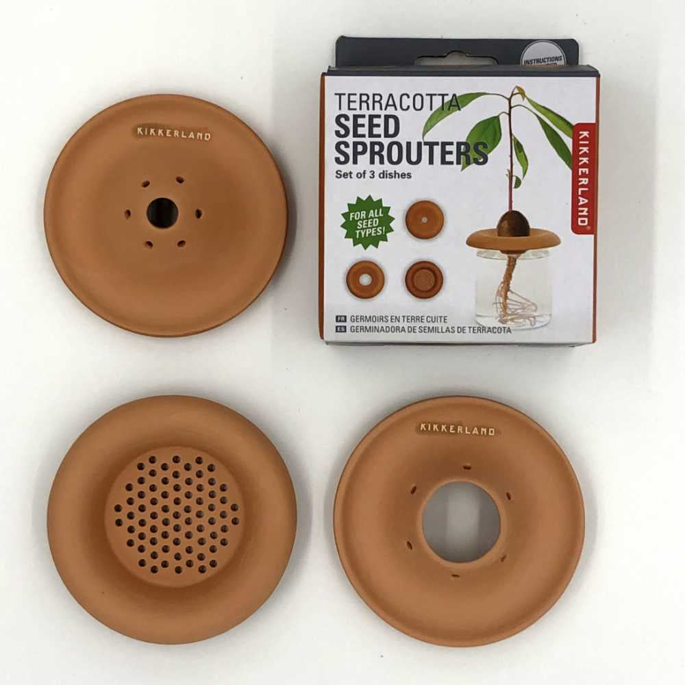 three clay seed sprouters with box