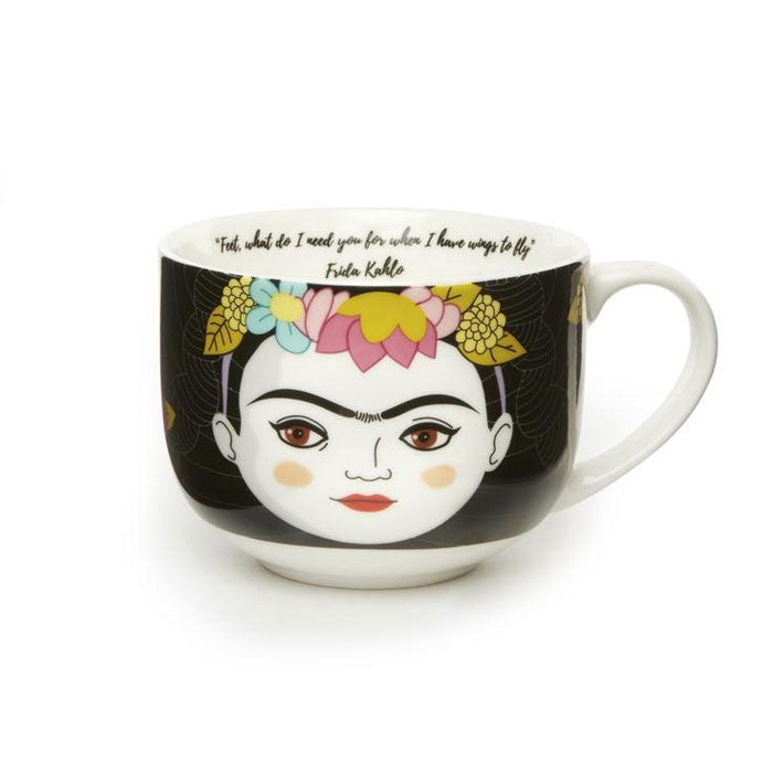stylized drawing of Frida on coffee cup