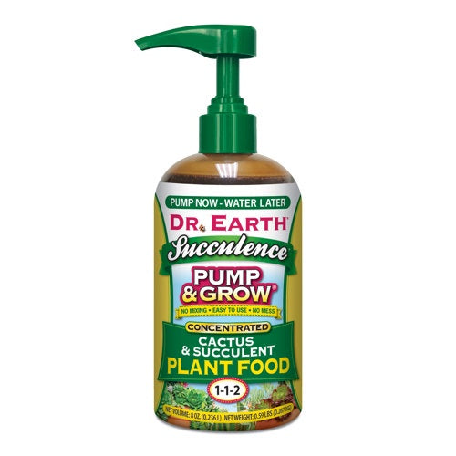 bottle with pump, Dr Earth Logo and product name
