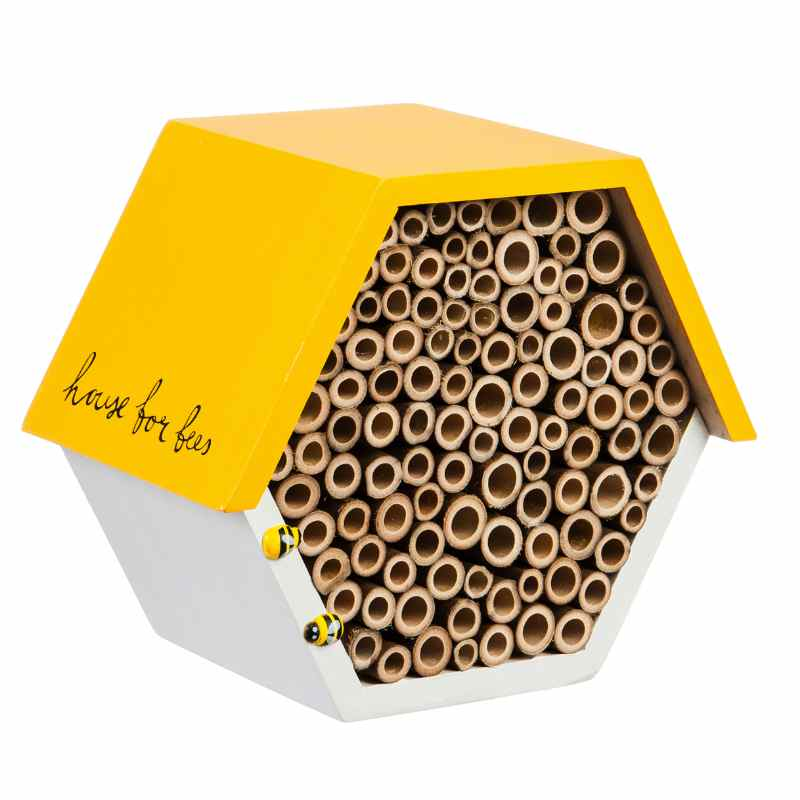 image of hexagon shaped bee house has a white base and yellow roof, with two tiny little bee figures attached to the front edge.
