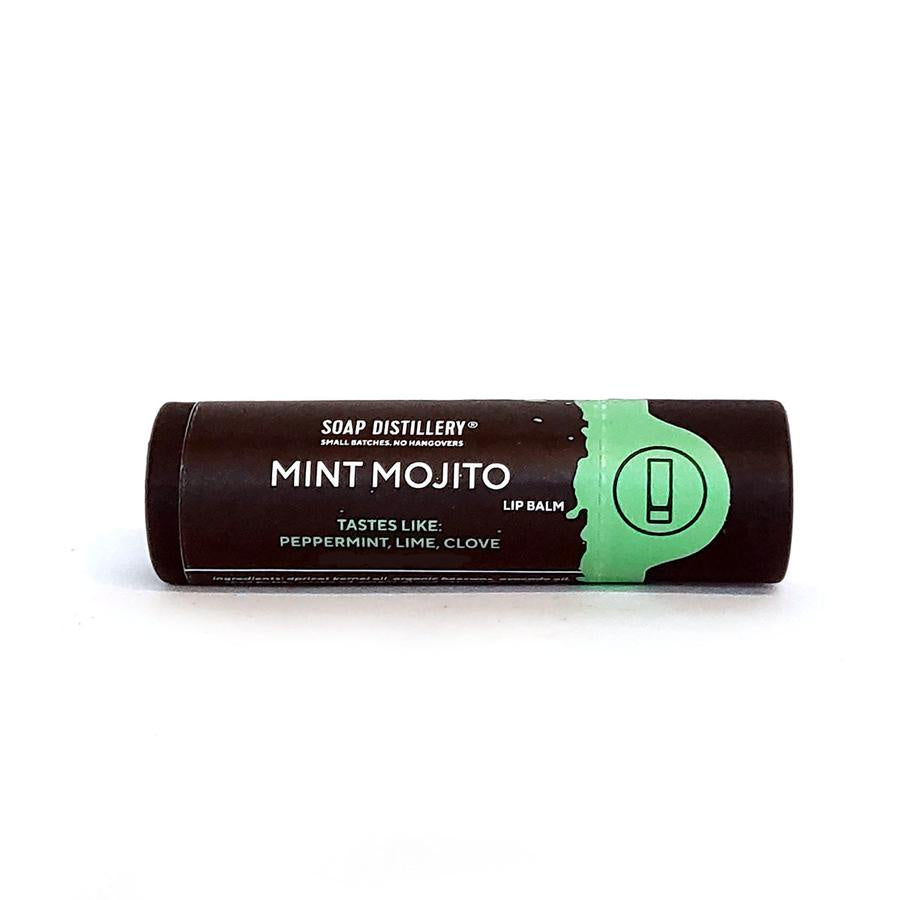 brown and mint green tube with soap distillery logo, and mint mojito lip balm printed on the label