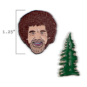 image of two pins, showing that the height of the bob ross head pin is one and a quarter inches tall