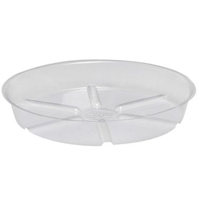clear plastic saucer with bottom ridges and 1 inch sides