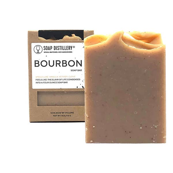 creamy brown soap shown in box and outside of box