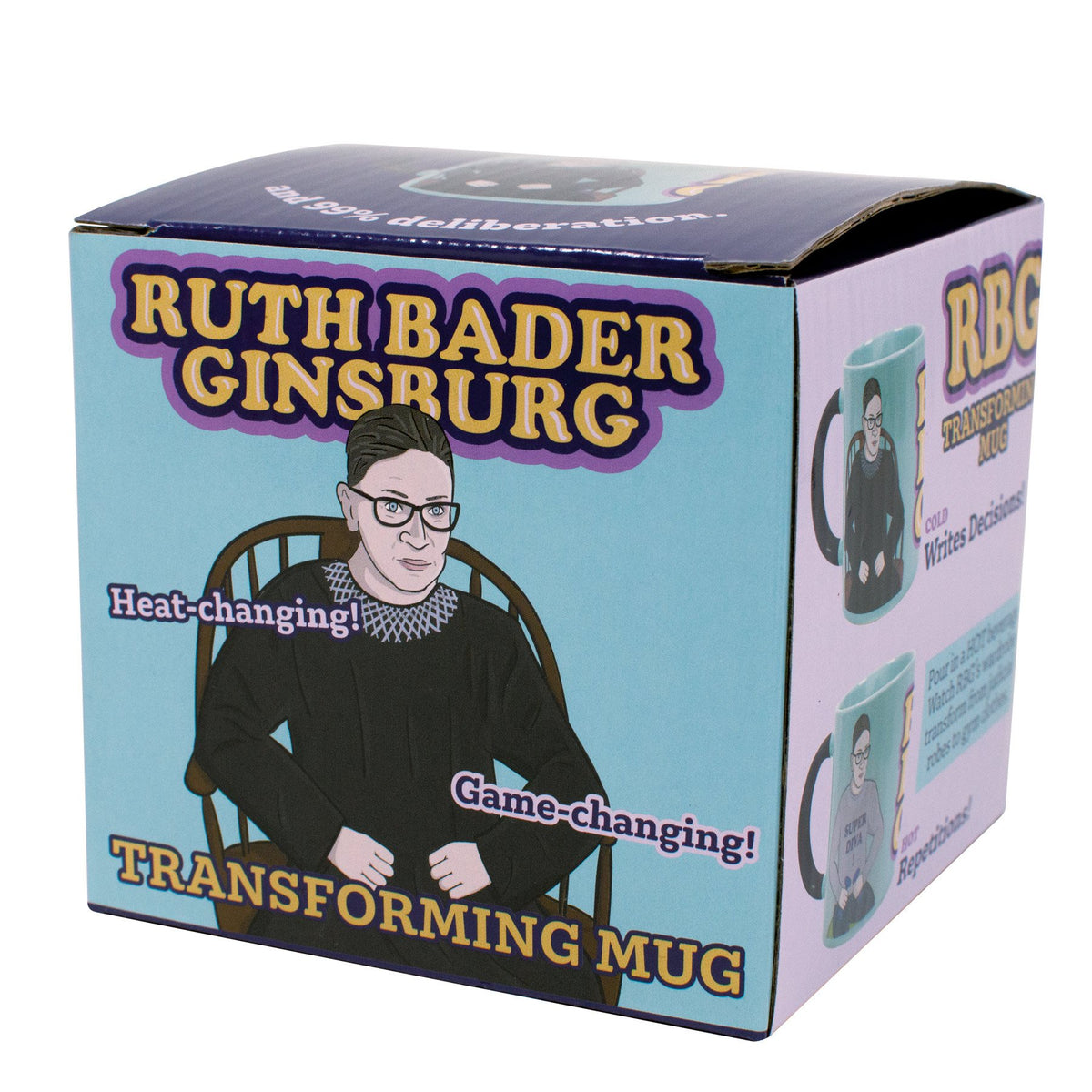 gift box for mug with drawing of ruth bader ginsburg in robe with her name in bright yellow with purple highlights