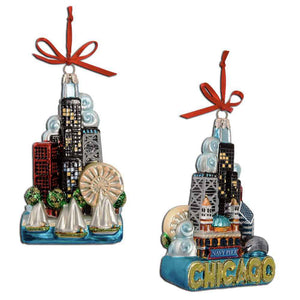 Front and back views of ornament with Chicago landmarks