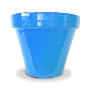 image of bright sky blue flower pot