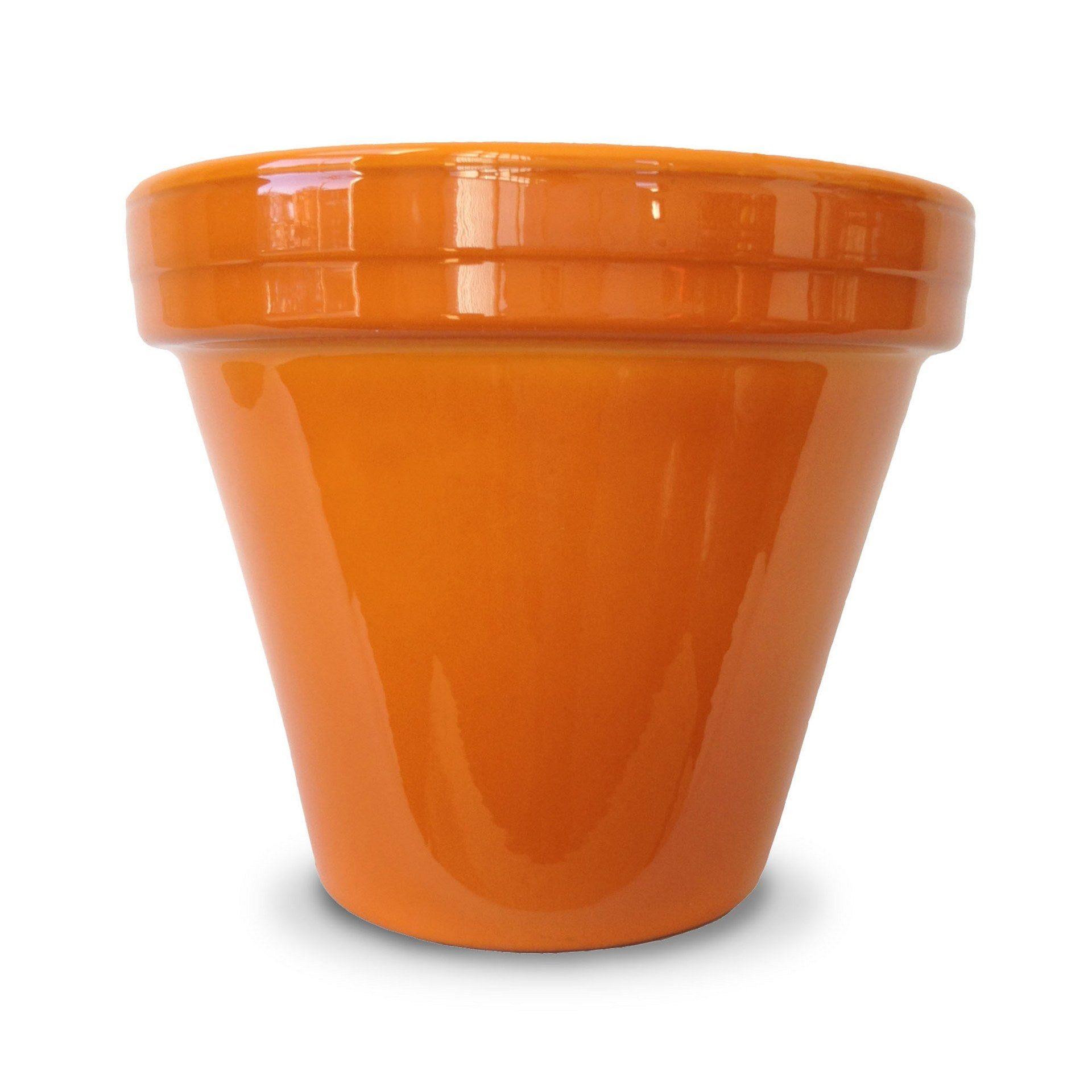 image of bright orange flower pot