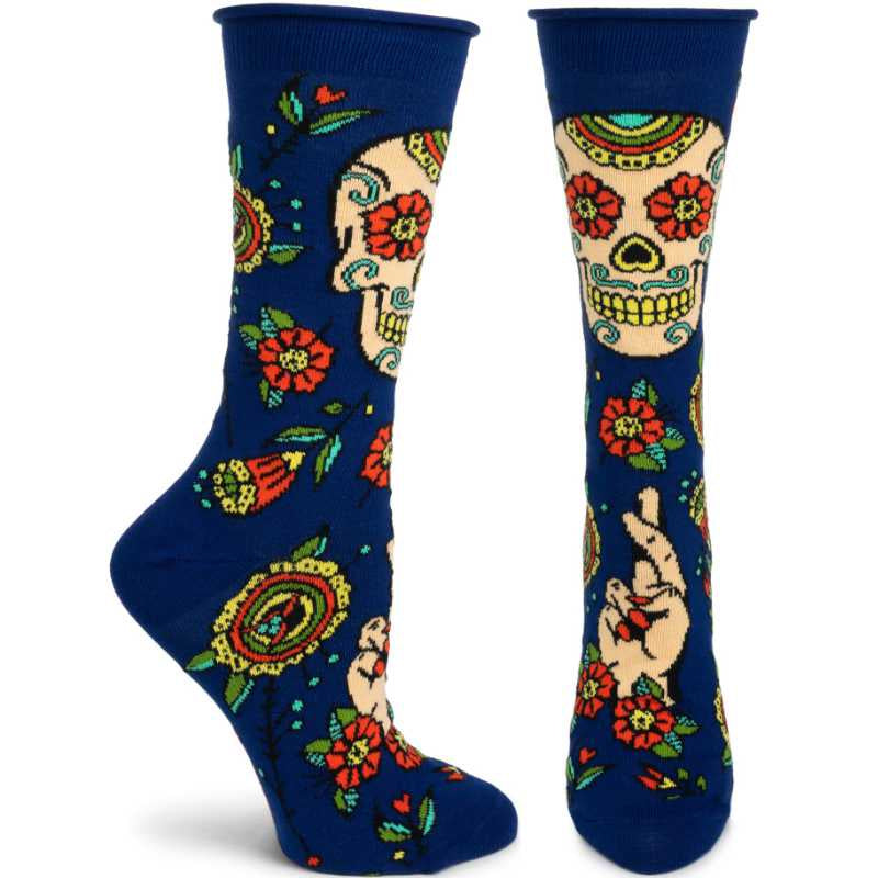 tall navy socks with tan and multi color sugar skull and related Day of the Day images.