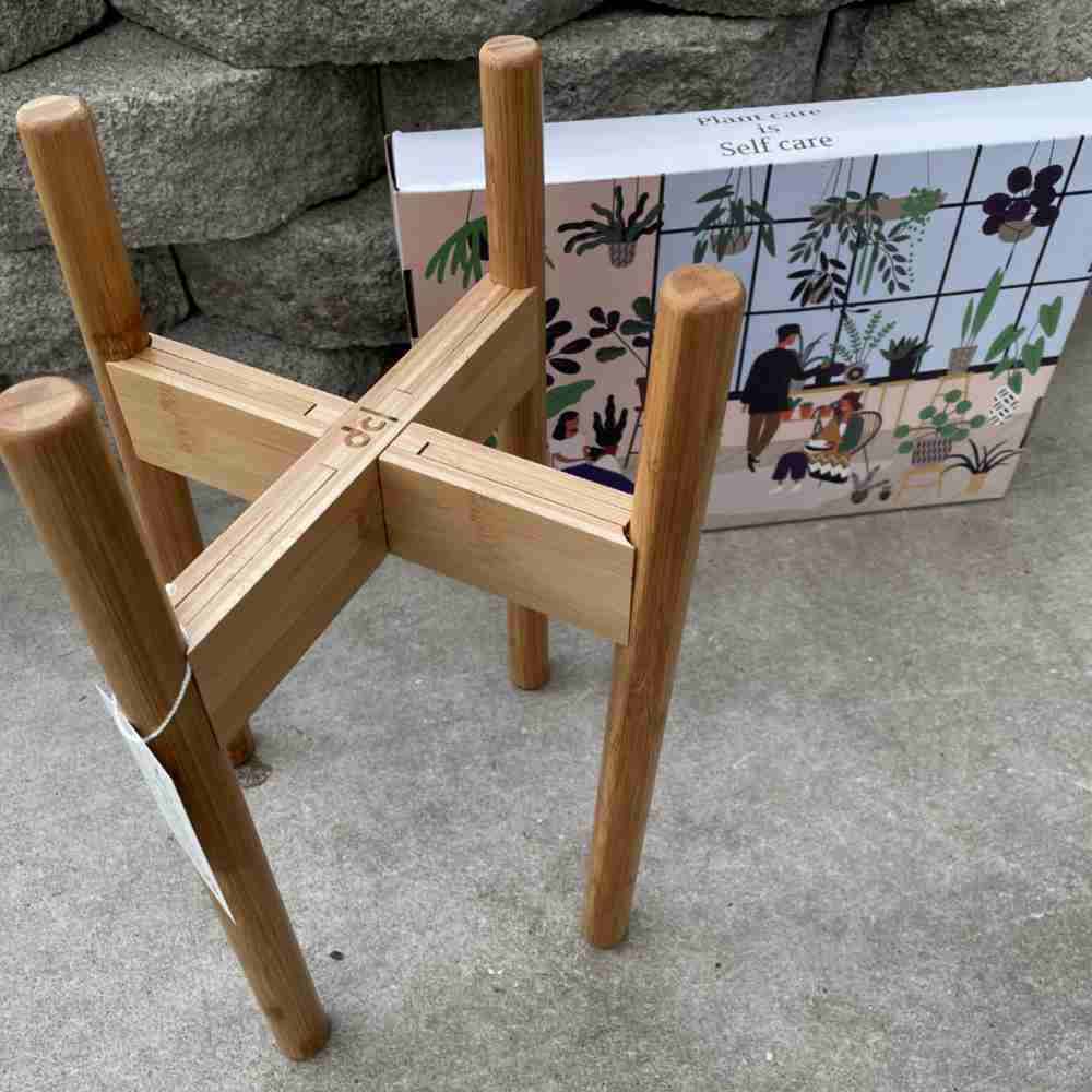 natural bamboo stand with illustrated box
