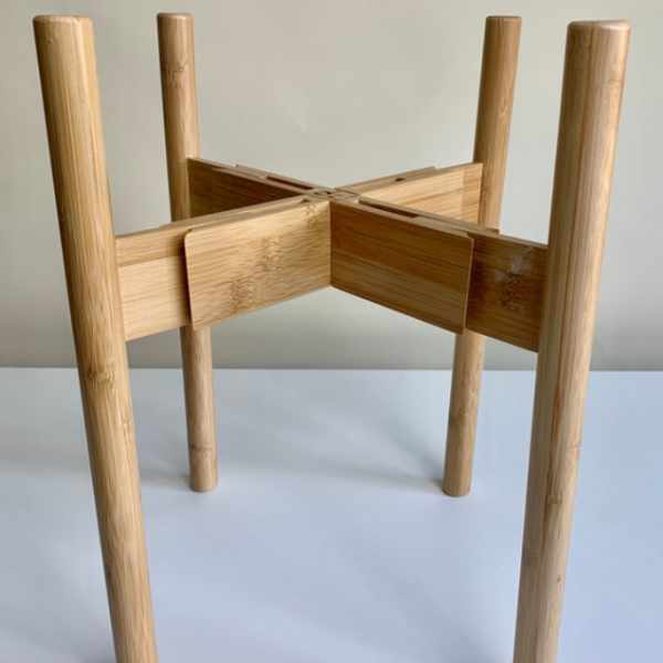 natural bamboo plant stand extended width