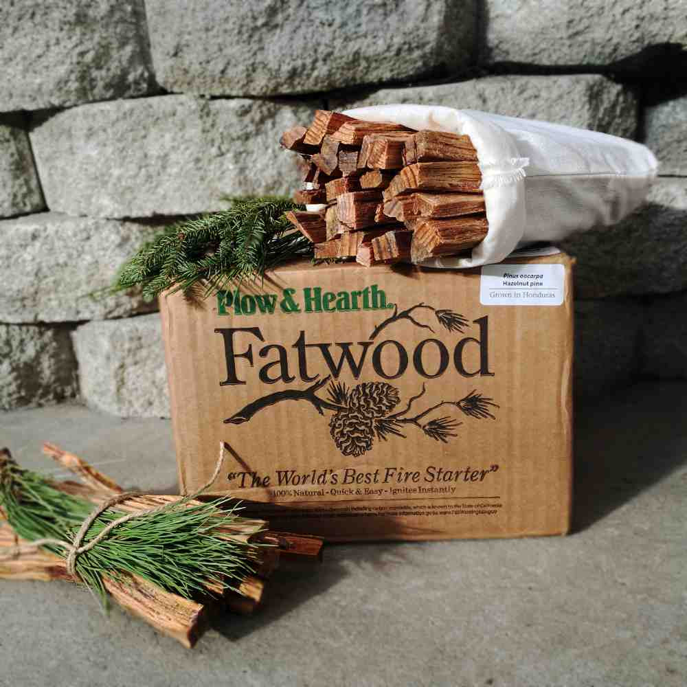 box with bundle of fatwood sticks and evergreen boughs