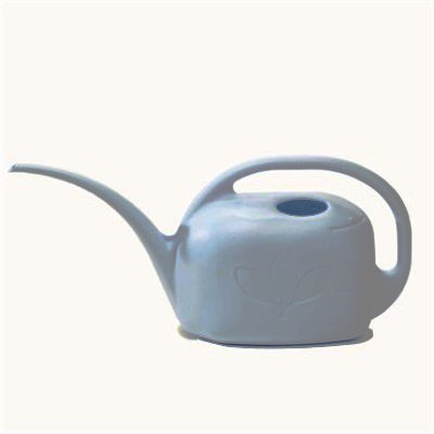 light blue watering can with narrow spout and handle