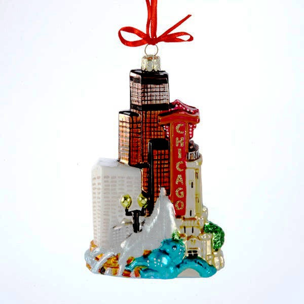 ornament with Chicago landmarks including the Chicago Theater
