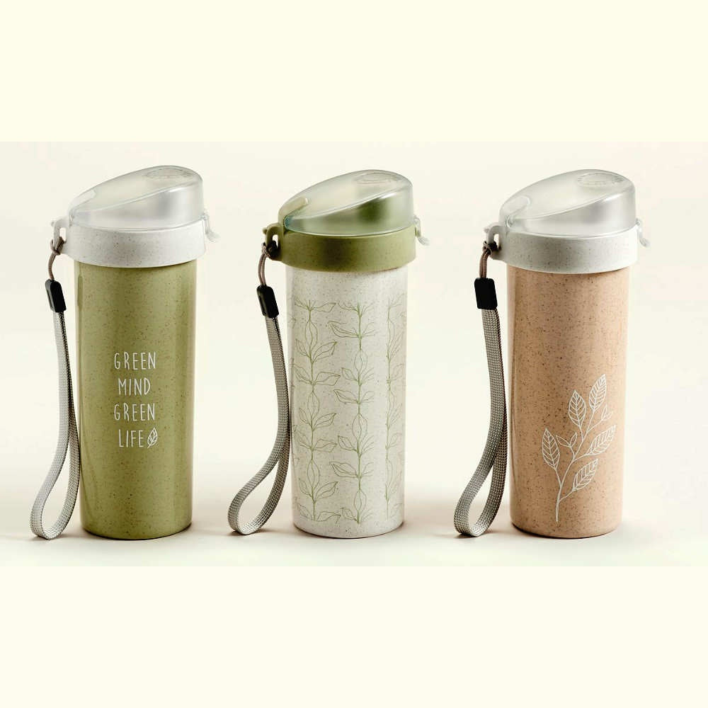 Three water bottles with lids-- one green with words, one white with leaf pattern, and one peach with plant outline drawing