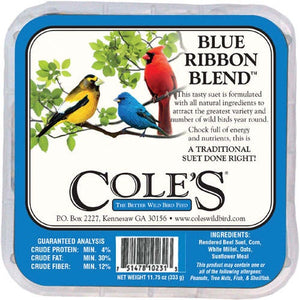 image of front of package with drawings of three birds--yellow blue and a red cardinal, with information on product in black on white background.