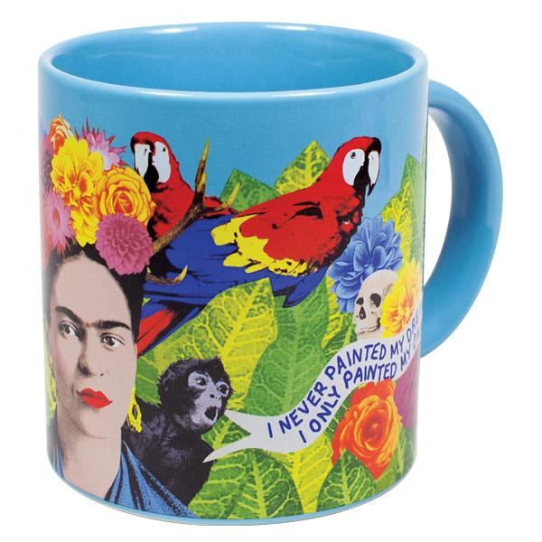 mug with colorful images of Friday, parrots, a monkey, skull, a quote and leaves and flowers