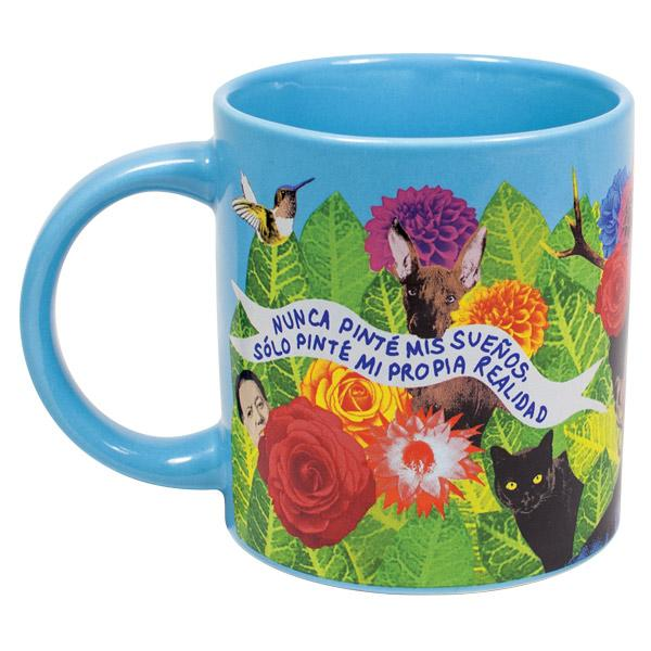 back of mug with images of leaves, flowers, her dog, her cat, a hummingbird and a quote in Spanish.