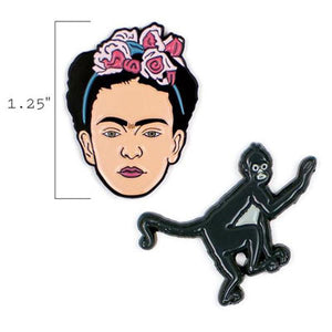 Frida Kahlo & Monkey Set of Enamel Pins