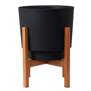12 inch modern black pot in wooden stand