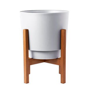 12 inch modern white pot in wooden stand