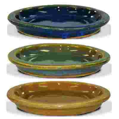 6 inch Malaysian ceramic saucer in blue, green and gold