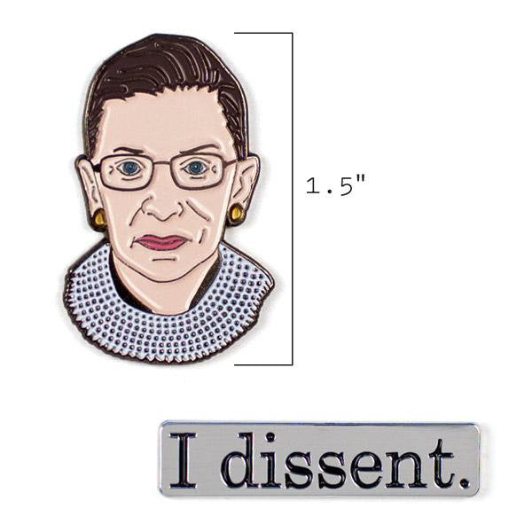 pin of Ruth Bader Ginsburg with 1.5 inch height indicated