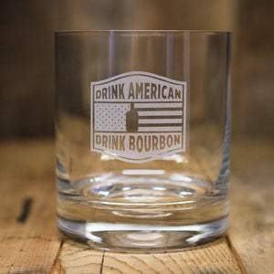 """Drink American"" Rocks Glass"