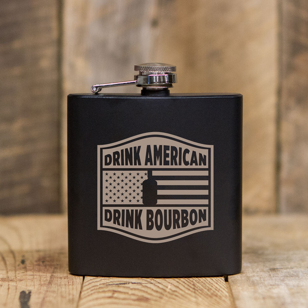 'Drink American' Black Flask