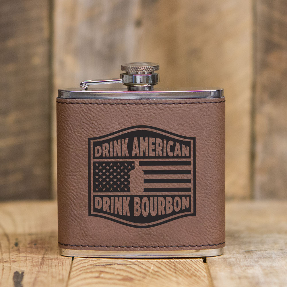 'Drink American' Leatherette Flask