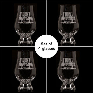 """I Don't Usually Drink Water"" Glencairn Whisky Glass – Set of 4"