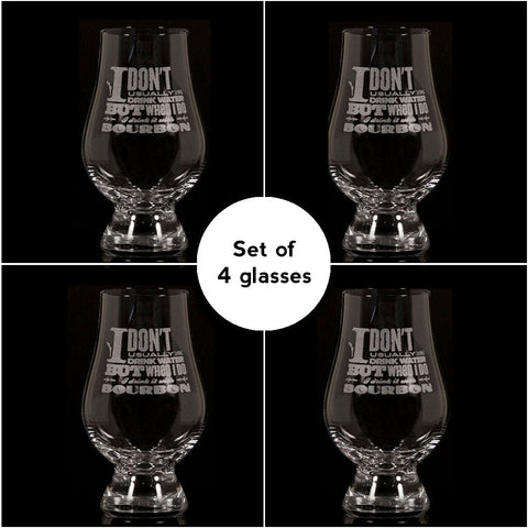 """I Don't Usually Drink Water""</br>Glencairn Whisky Glass</br>Set of 4"