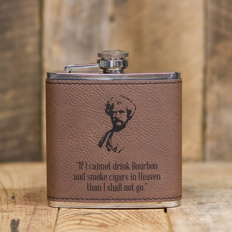'If I Cannot Drink Bourbon' Leather Flask