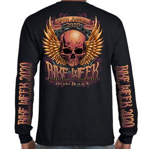 2020 Bike Week Daytona Beach Rockin' Skull Long Sleeve Shirt