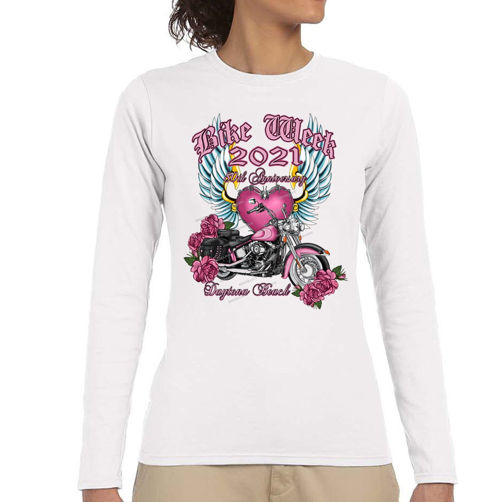 Ladies 2021 Bike Week Daytona Beach Softail Angel Long Sleeve Shirt
