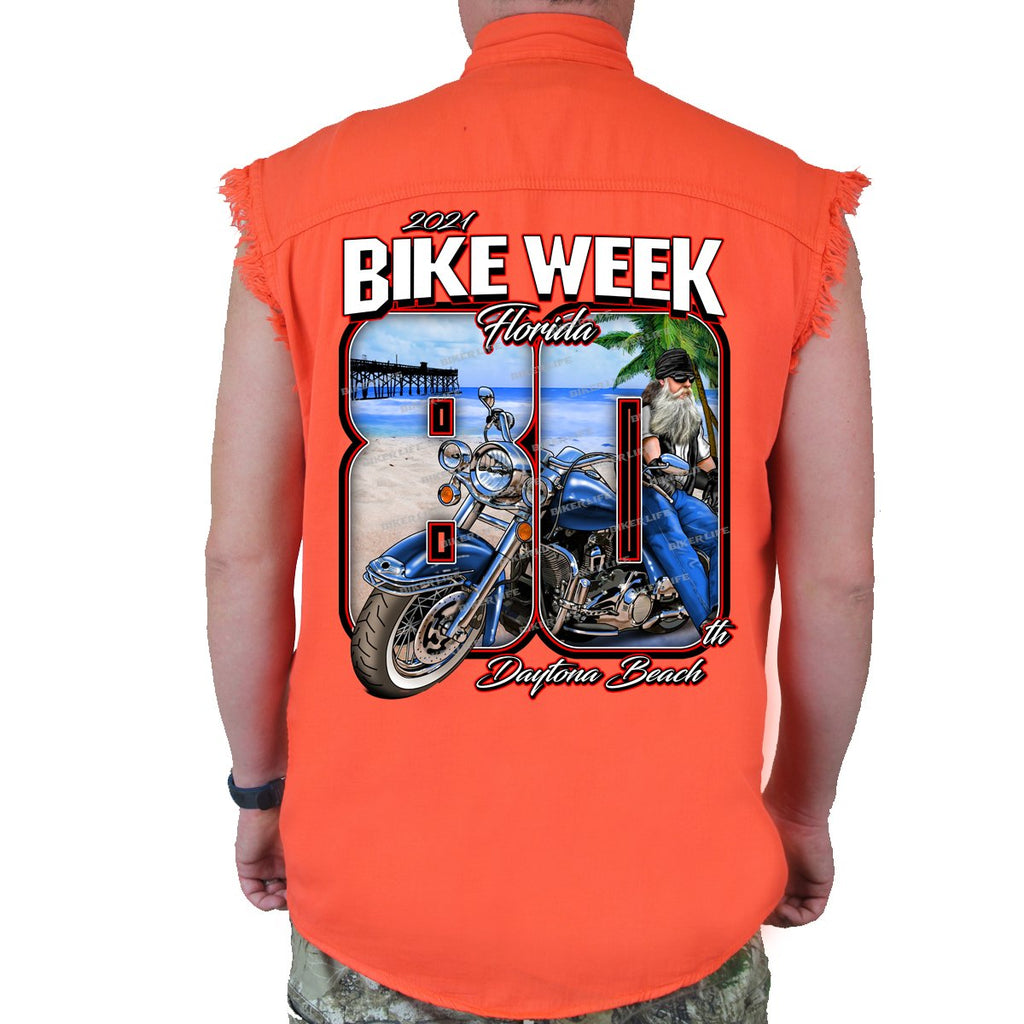 2021 Bike Week Daytona Beach 80th Anniversary Cut-Off Denim