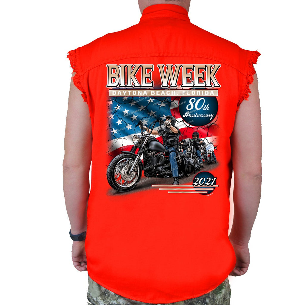 2021 Bike Week Daytona Beach American Biker Cut-Off Denim