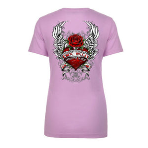 Ladies Jr. Cut 2021 Bike Week Daytona Beach Heart Of An Angel Cap Sleeve Tee