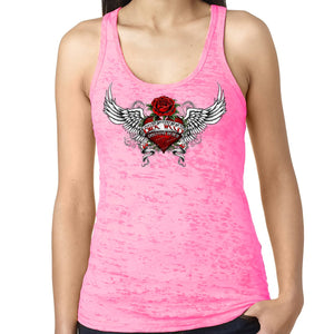 Ladies 2021 Bike Week Daytona Beach Heart Of An Angel Burnout Racerback Tank Top