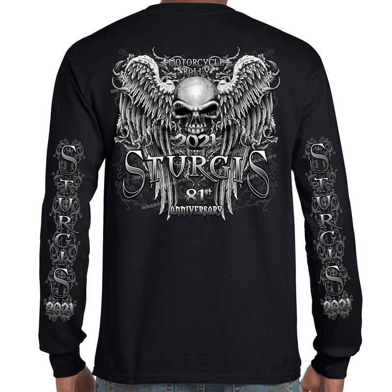 2021 Sturgis Motorcycle Rally Fleur De Lis Granite Skull Wings Long Sleeve