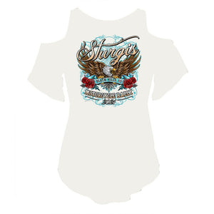 Ladies 2021 Sturgis Motorcycle Rally Freedom Eagle Rose Cut Shoulder Flow Top